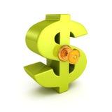 Duży zielony dolarowy symbol z kędziorka kluczem biznesowego pojęcia odosobniony sukcesu biel Zdjęcia Royalty Free