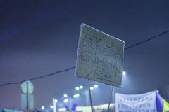 Duzi anci korupcja protesty w Bucharest Zdjęcie Royalty Free