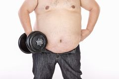 Duzi brzuch?w m??czy?ni przed diet? i sprawno?ci? fizyczn? fotografia royalty free