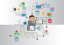 Duzi dane, analityka i business intelligence pojęcie, Kreskówki osoba łączył dane i informacja odzyskujący od interne Zdjęcie Royalty Free