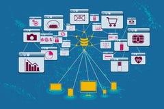 Duzi dane, dane nauka i komunikaci pojęcie, Zdjęcia Stock