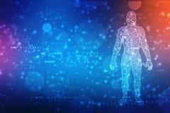 Duzi dane, sztucznej inteligencji pojęcie, mężczyzny kontur z obwód deską i binarnych dane przepływ na technologii tle, royalty ilustracja
