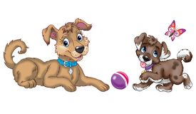 Duzi i mali psy bawić się kreskówki sztukę na białym tle royalty ilustracja