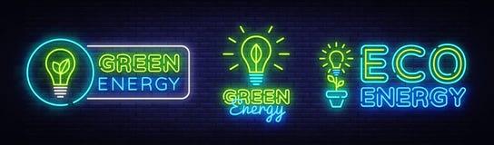 Duzi Inkasowi Neonowi znaki Zieleni Energetyczni Neonowi logowie Wektorowi Zielony Energetyczny neonowy tekst, projekta szablon,  royalty ilustracja