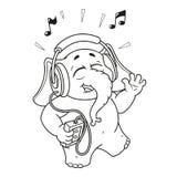 Duzi inkasowi wektorowi postać z kreskówki słonie na odosobnionym tle hełmofony target162_1_ muzykę ilustracji