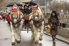 Duzi konie przy Karnawałową paradą, Stuttgart Obraz Royalty Free