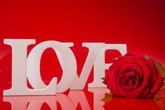 Duzi miłość słowa z czerwieni róży kwiatem Obrazy Royalty Free