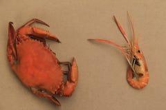 Duzi odparowani kraby i piec piec na grillu krewetka fotografia royalty free