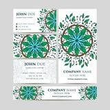 Duzi szablony ustawiający Wizytówki, zaproszenia i sztandary, Mandala ornamenty i wzór Azjata, język arabski, indianin, ottoman m Obraz Stock
