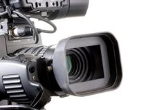 Dv camcorder. Close-up black dv camcorder on white background Royalty Free Stock Photo