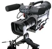 Dv-camcorder on crane. Isolated image of dv-camcorder on the crane with handly motion control Stock Photography