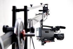Dv camcorder on the crane. Dv camcorder on the handly operator crane Stock Photo