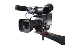 Dv camcorder on crane. Black dv-cam camera recorder on tv crane with white background Stock Photos