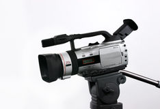 DV Camcorder on tripod stock image