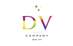 dv d v creative rainbow colors alphabet letter logo icon vector illustration