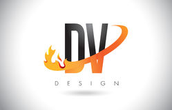 DV D V Letter Logo with Fire Flames Design and Orange Swoosh. DV D V Letter Logo Design with Fire Flames and Orange Swoosh Vector Illustration Royalty Free Stock Photography