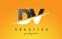 DV D V Letter Modern Logo Design with Yellow Background and Swoo. DV D V Letter Modern Logo Design with Swoosh Cutting the Middle Letters and Yellow Background Royalty Free Stock Image