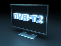 DVB - T2 (Digital Video Broadcasting – Terrestrial). DVB - T2 (Digital Video Broadcasting - Terrestrial) - computer generated image (3D render Royalty Free Stock Image