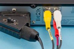Dvb-t tv receiver back side scart tulip wires plug Stock Images