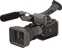 Dvc. Professional digital video camera with microphone Stock Photography