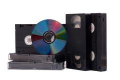 dvd диска связывает vhs тесьмой Стоковое Фото