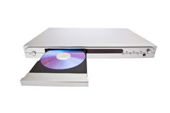 DVD-плеер выкидывая диск с изолированный Стоковые Фотографии RF