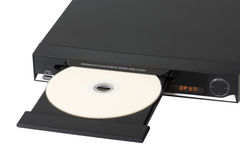 DVD. Black dvd-player with dvd - isolated on white background royalty free stock photos
