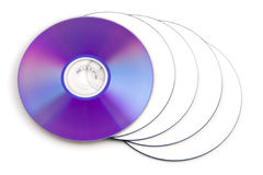 DVD. Colorful DVD disks isolated over a white background stock photo