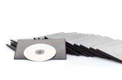 DVD-ask med disketten på vit bakgrund Arkivfoto