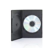 DVD-ask med disketten på vit bakgrund Royaltyfria Bilder
