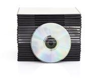 DVD-ask med disketten på vit bakgrund Royaltyfria Foton