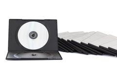 DVD-ask med disketten på vit bakgrund Royaltyfri Foto