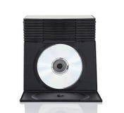 Dvd askar med disketten på vit bakgrund Arkivbilder