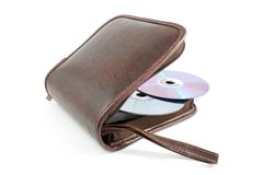 DVD bag. Open DVD case with two disks isolated on white stock image