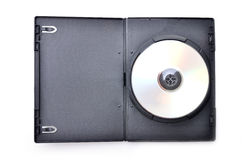 Dvd in black case. On white background royalty free stock photo