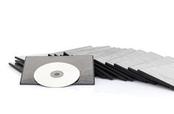 DVD box with disc on white background Stock Photo