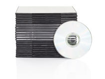 DVD box with disc on white background Royalty Free Stock Images