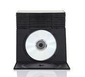 Dvd boxes with disc on white background Stock Images