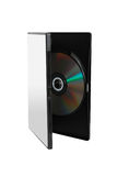 DVD in case. On white royalty free stock image