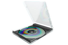 Dvd with case 3d rendered Stock Photos