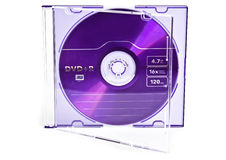 Dvd in case. Photo of dvd case with disk isolated on white stock images