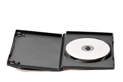 Dvd case and disk. Dvd cd case with blank media isolated over white background royalty free stock image