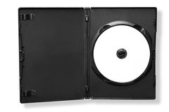 DVD in Case (with Path). Blank DVD in black case, isolated on white. Clipping path included stock photo