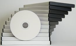 DVD cases. With white spine and blank faced DVD, isolated on white royalty free stock image