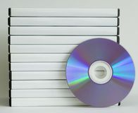 DVD cases. With white spine and shiny faced DVD, isolated on white stock images
