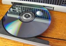DVD or CD. Ready to play on anything from computer to television Stock Photo