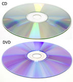 DVD and CD disc compared Royalty Free Stock Photography