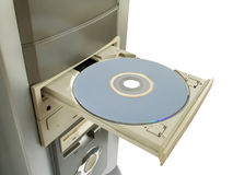 Dvd, cd disc in open drive. Isolated on white Royalty Free Stock Photo