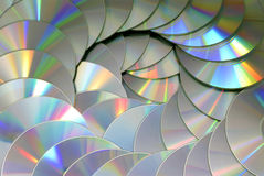 DVD CD disc pile technology background texture pattern Stock Images