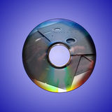 Dvd or cd and old floppy disk inside Stock Image